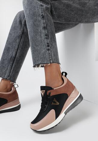 Czarno - Różowe Sneakersy Hepheano