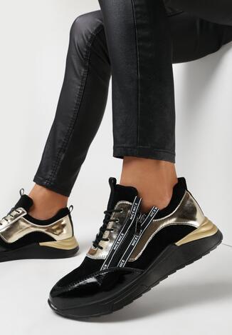 Czarno-Złote Sneakersy Mesoya