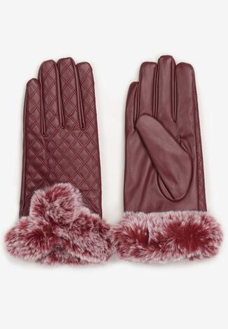 Bordowe Rękawiczki Mesalin