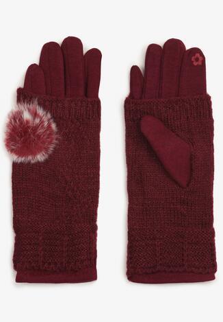 Bordowe Rękawiczki Cecial
