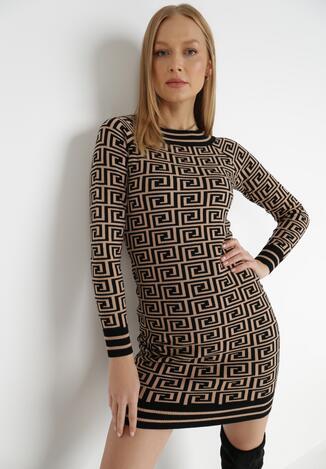Czarno-Beżowa Sukienka Volie