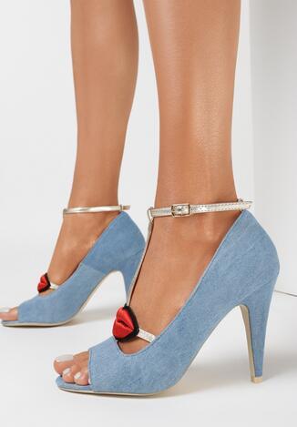 Jasnoniebieskie Sandały Red Lips