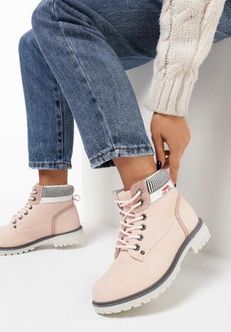 Różowe Traperki Fashion Casual