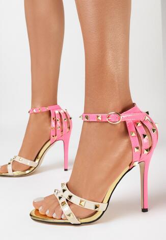 Beżowo-Fuksjowe Neonowe Sandały Thoughtful