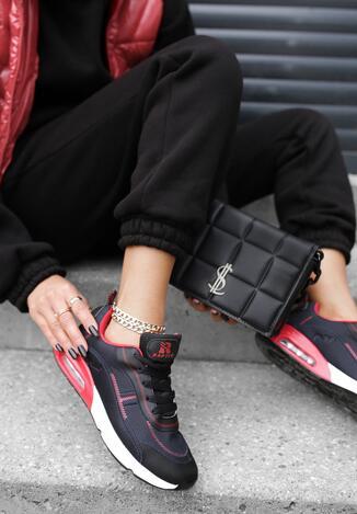 Czarno-Czerwone Buty Sportowe Tryxyla
