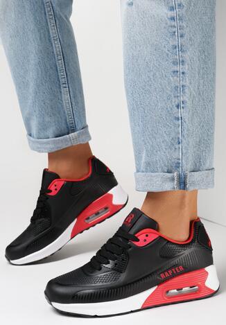 Czarno-Czerwone Buty Sportowe Thronishis