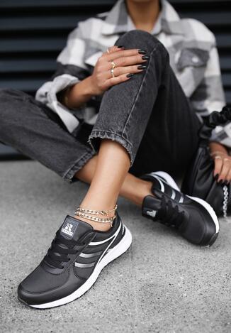 Czarno-Białe Buty Sportowe Come Up
