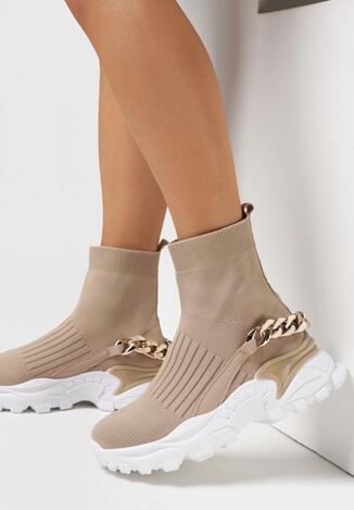 Beżowe Sneakersy Klymale