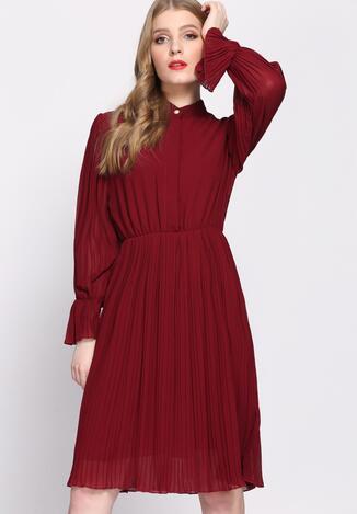 Bordowa Sukienka Acquiescence