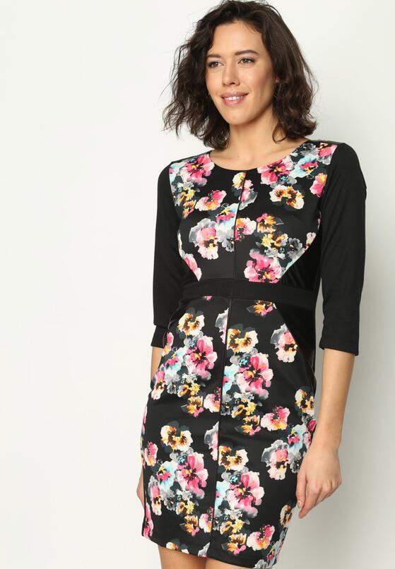 Różowo-Szara Sukienka Flower Power
