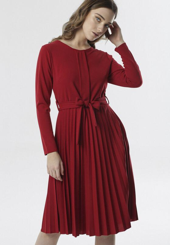 Bordowa Sukienka Pleated Belted