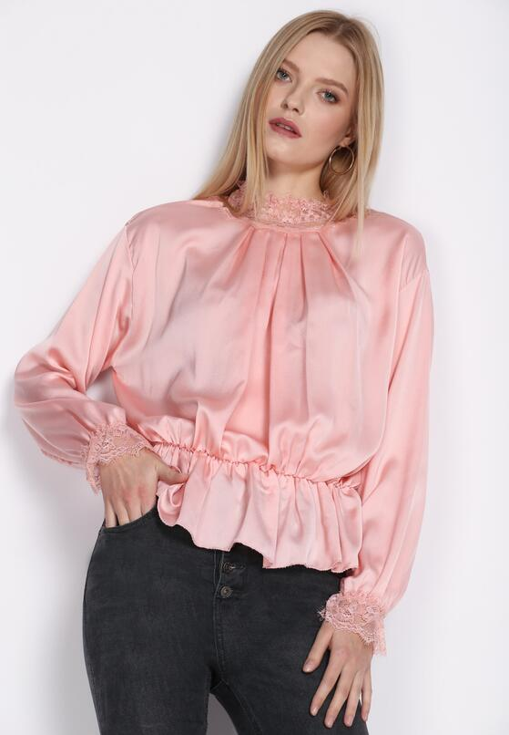 Różowa Bluzka Lace Trims