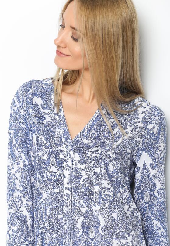 Niebieska Koszula Boho Print