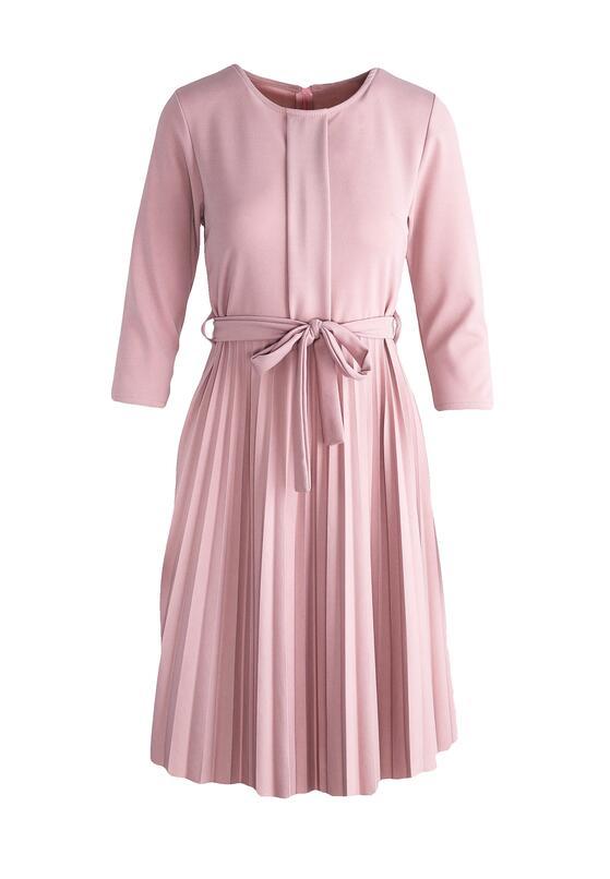 Różowa Sukienka Pleated Belted