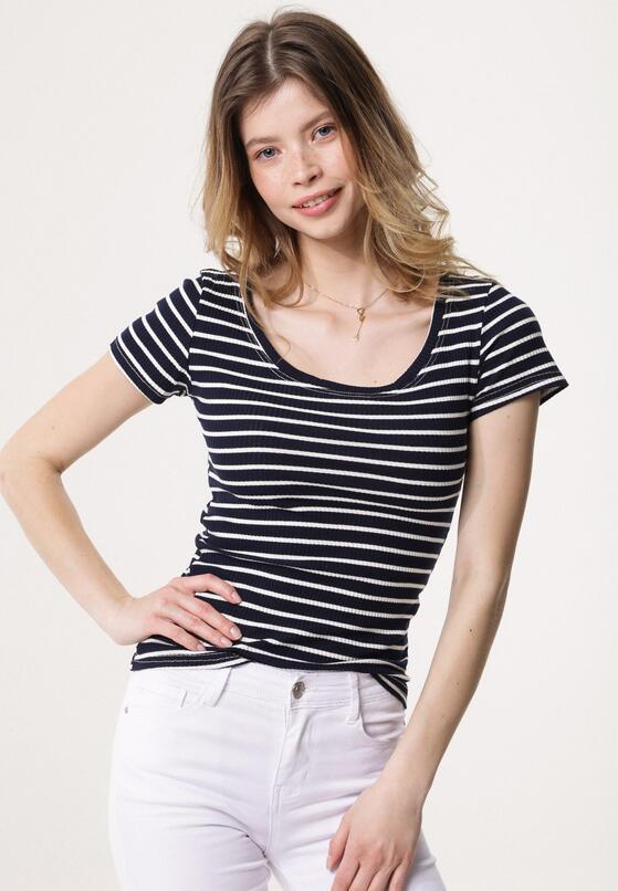 Granatowy T-shirt Long Zipper