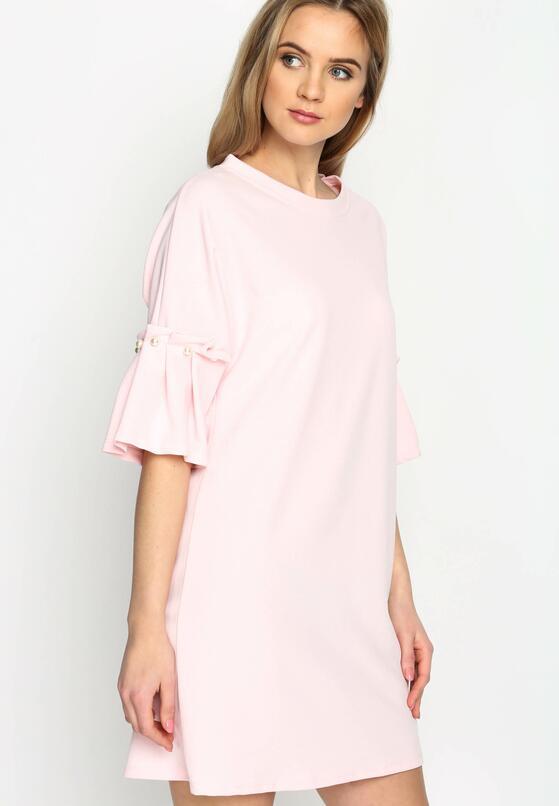 Różowa Sukienka Pleated Sleeves