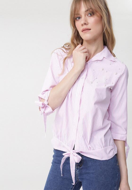 Różowa Koszula Stripy Pearled