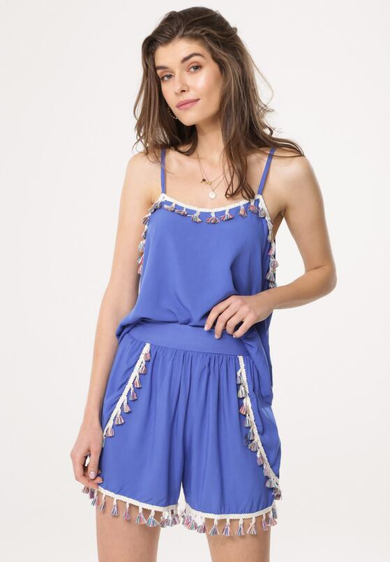 Niebieski Komplet Fringy