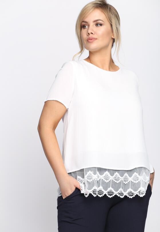 Biała Bluzka Lace Ruffle