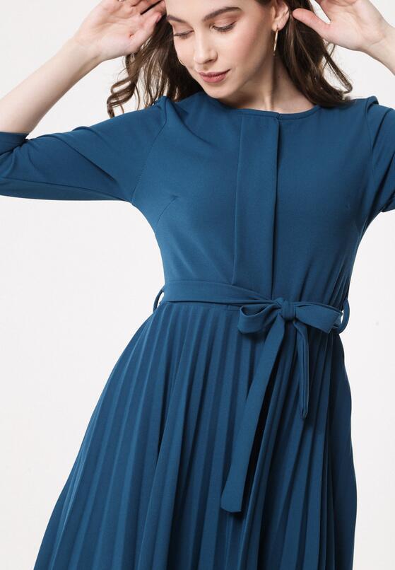 Miętowa Sukienka Pleated Belted