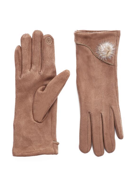 Ciemnobeżowe Rękawiczki Shammy