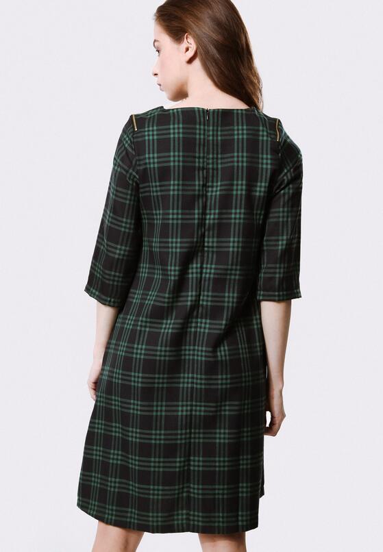 Granatowo-Zielona Sukienka Algid