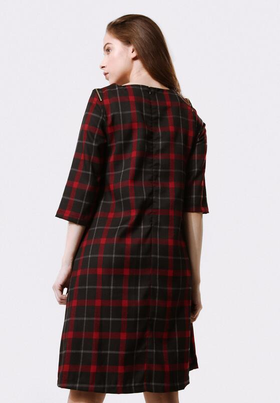 Czarno-Czerwona Sukienka Algid