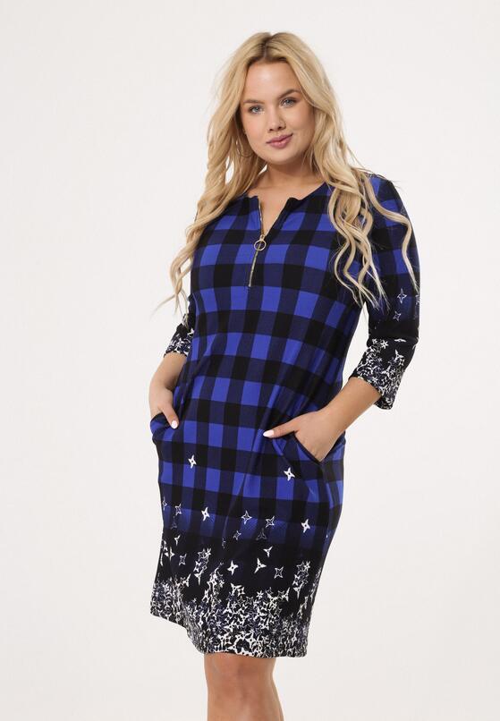 Czarno-Niebieska Sukienka Snappy