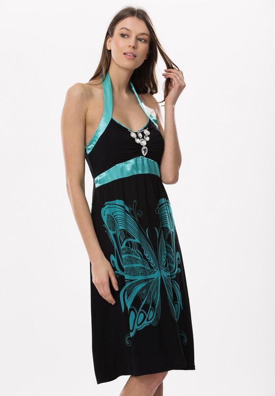 Czarno-Zielona Sukienka Supposed