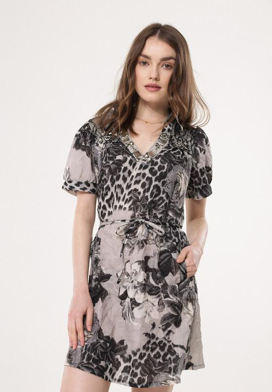 Szara Sukienka Patterned