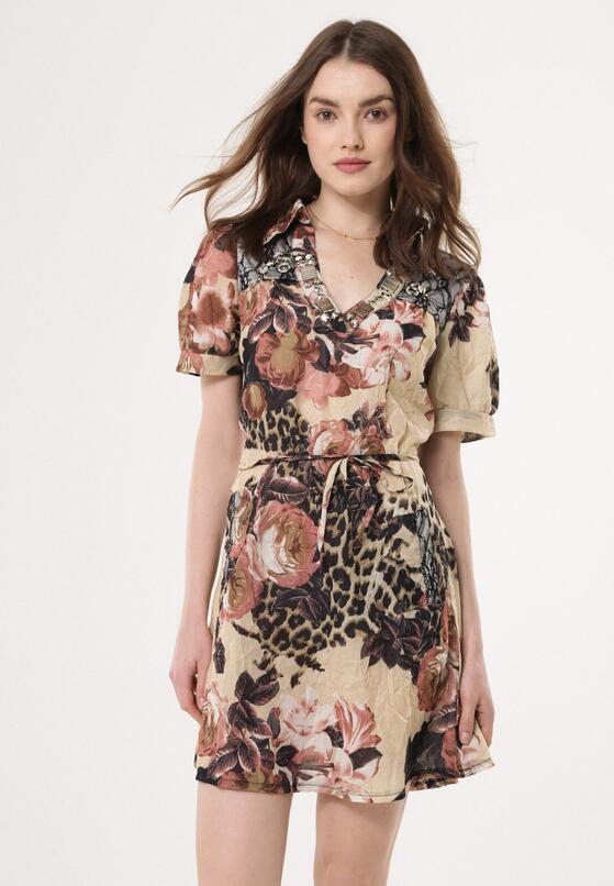 Beżowa Sukienka Patterned