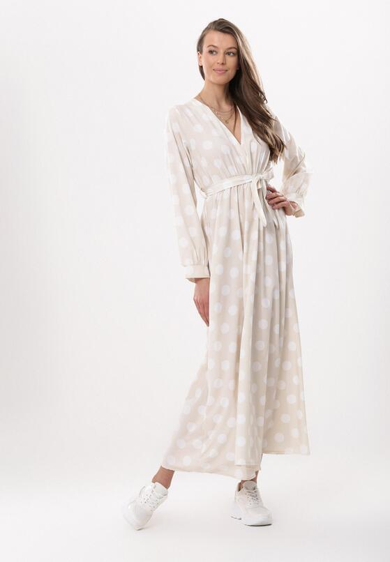 Beżowa Sukienka Incisive