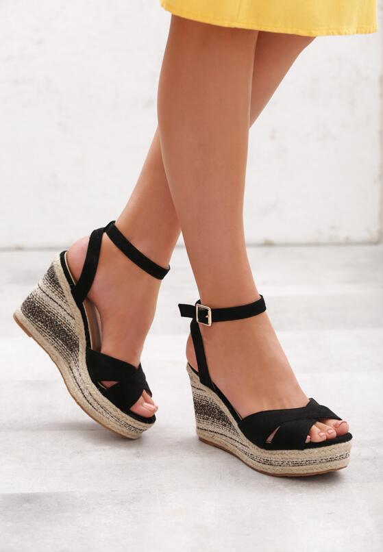 Czarne Sandały Temperament