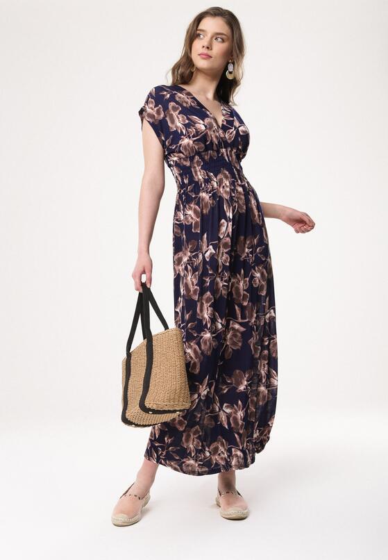 Granatowo-Beżowa Sukienka Nino