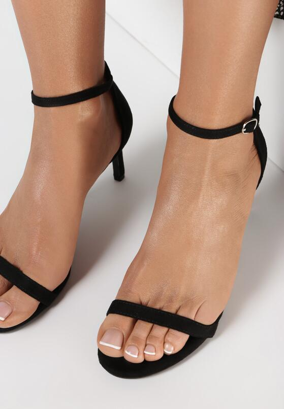 Czarne Zamszowe Sandały Pavement