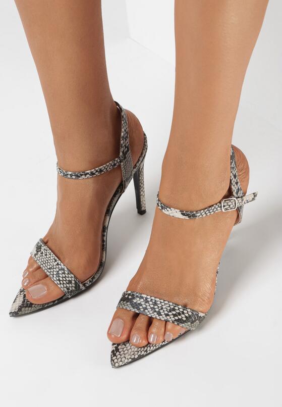 Szare Wężowe Sandały Dangerous Woman