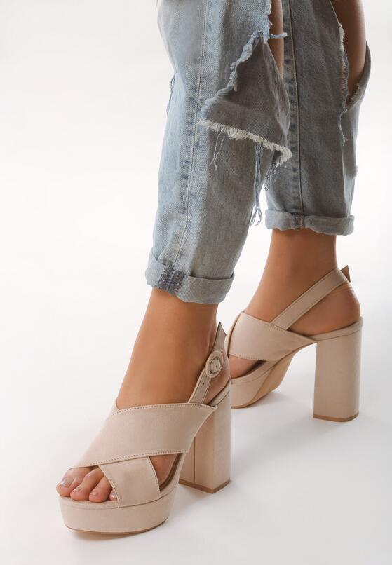 Beżowe Sandały Golden Ratio