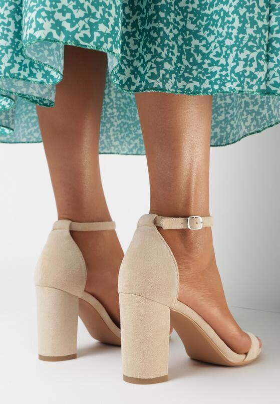 Beżowe Zamszowe Sandały Authorizing