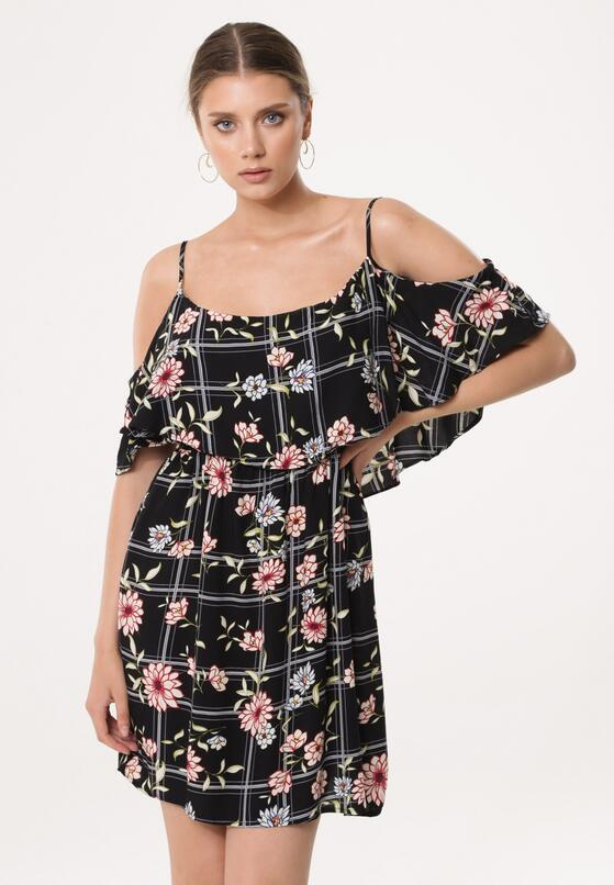 Czarna Sukienka Blossoms