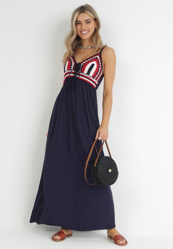Granatowa Sukienka Wing In