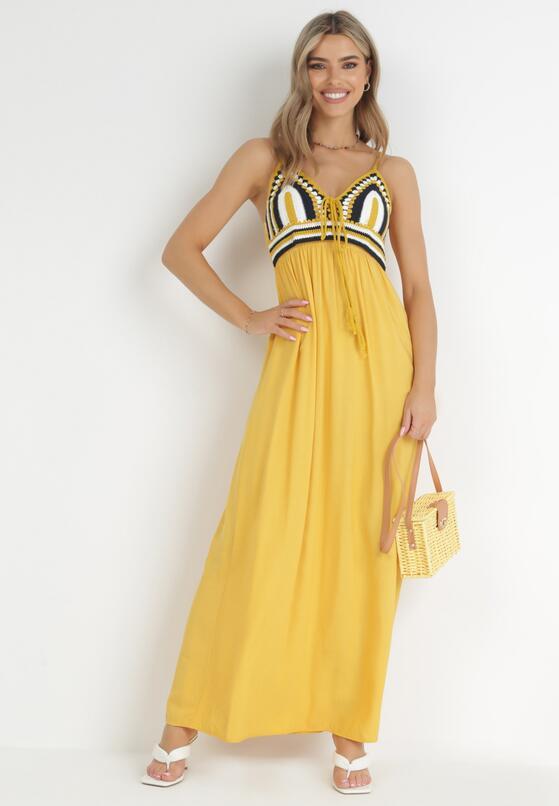 Żółta Sukienka Wing In