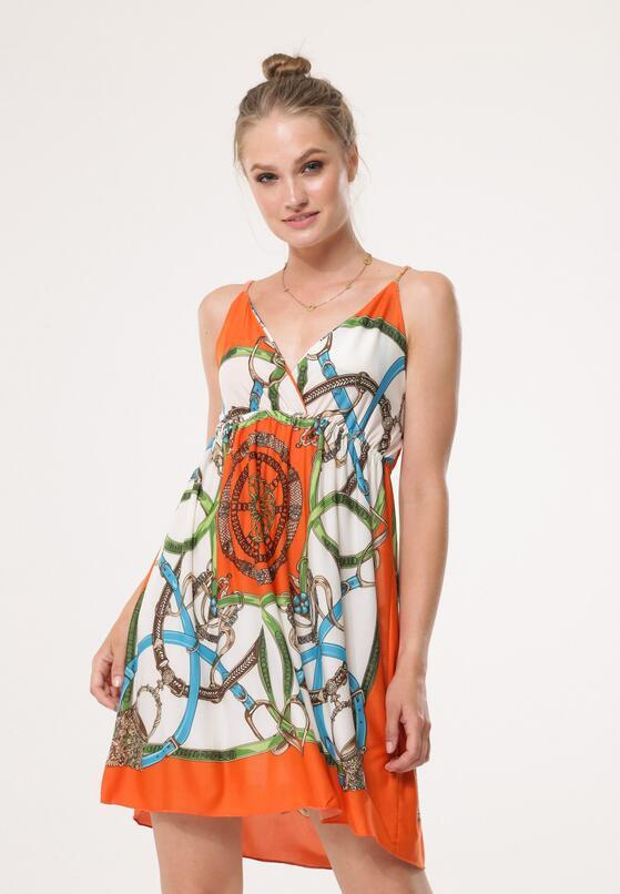 Biało-Pomarańczowa Sukienka Unacquired