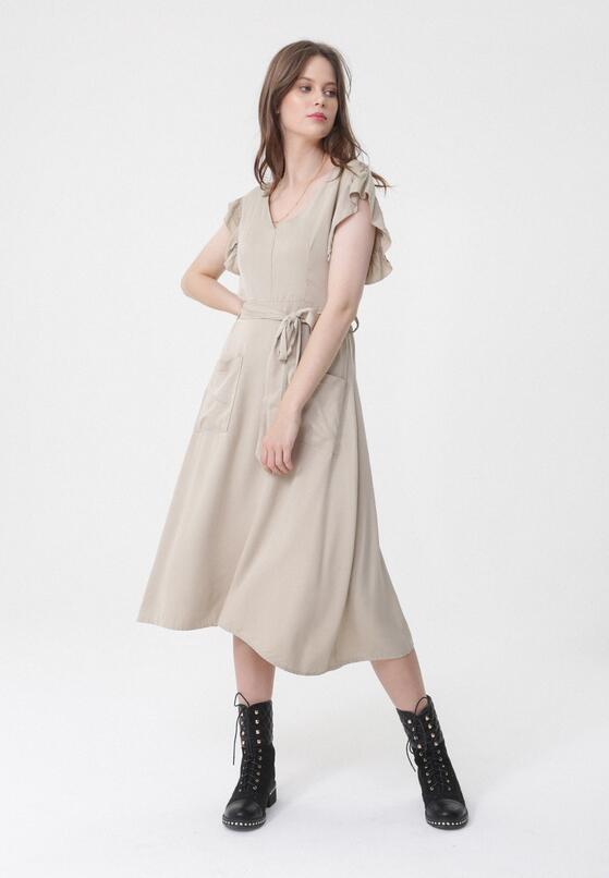 Beżowa Sukienka Inborn