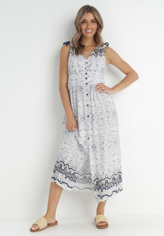 Biało-Niebieska Sukienka Fall In