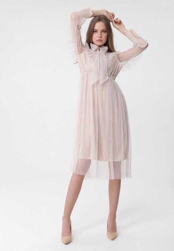 Jasnobeżowa Sukienka Anecdotic