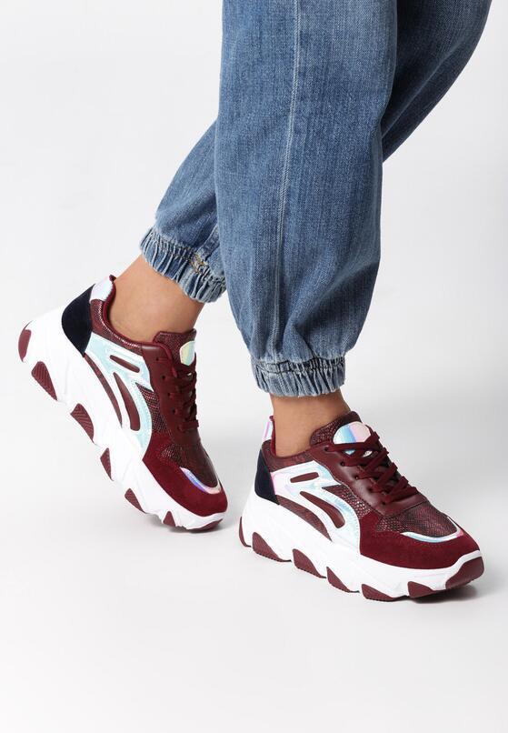Bordowe Sneakersy Paislee
