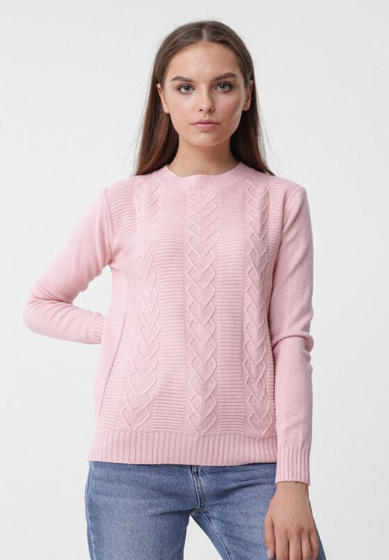 Jasnoróżowy Sweter Evolutive