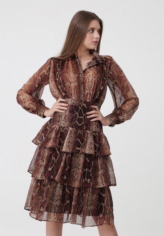 Brązowa Sukienka Lustre