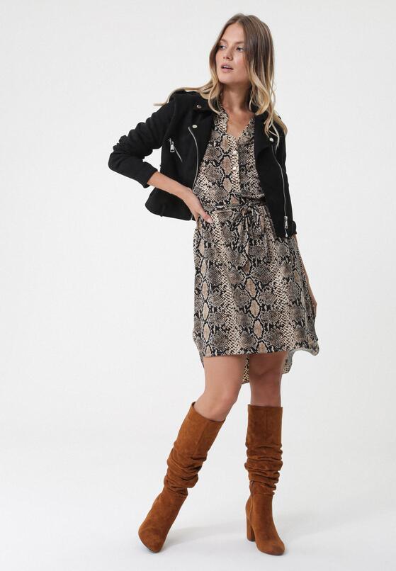 Czarno-Beżowa Sukienka Maubeuge