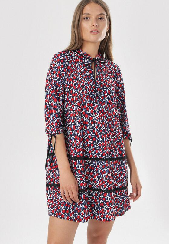 Czerwono-Niebieska Sukienka Halluin